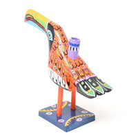 """Toucan Candle Holder, Orange Colorful, Carved Wood, Wooden Art Handcrafted in Guatemala, One-of-a-Kind Art, 12"""" x 9.5"""" x 4"""""""