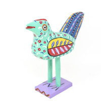 """Bird Green,  Multicolored, Carved Wood, Wooden Art Handcrafted in Guatemala, One-of-a-Kind Art, 10"""" x 9.5"""" x 4"""""""
