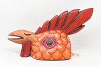 """Gallo Rooster Mask, Hand Carved in Guatemala, By Artist Rodrigo Canil  16"""" x 9.5"""" x 7"""""""