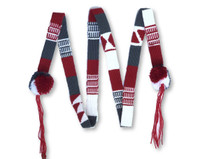 Mayan Arts Colorful Belts with Pom Poms, Set of 3, Red, White, Grey,Graduation Tassel, Hat Band, Spirit Wear, College Colors, Handmade Textiles from Guatemala 1 X 43 inches