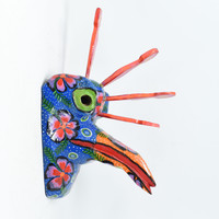 """Blue Colorful Peacock, Whimsical Dance Mask, Hand Carved Wood Guatemala 15.5"""" x 8"""" x 9"""""""