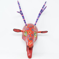 "Deer, Red Colorful Whimsical Dance Mask, Hand Carved Wood Guatemala 19"" x 11"" x 12"""