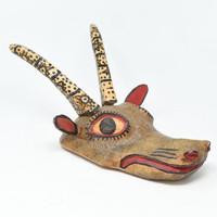 """Deer, Earth tone,  Whimsical Dance Mask, Hand Carved Wood Guatemala 19"""" x 15"""" x 9"""""""