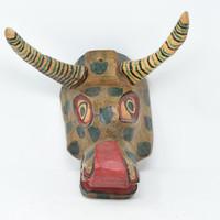 """Bull Mask, Whimsical Dance Mask, Hand Carved Wood Guatemala 12"""" x 10"""" x 9"""""""