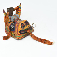 """Bull Mask with Bell, Whimsical Dance Mask, Hand Carved Wood Guatemala 6.5"""" x 6.5"""" x 7"""""""