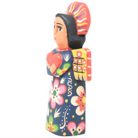 "Mayan Arts Small Decorative Wooden Angels, Religious Gift Icons, Blessed Home Statues, Multi Color Painted with Flowers and Hearts, Handmade in Guatemala 5"" x 2.75"" x 1.5"" (Blue)"