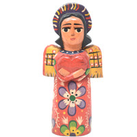 "Mayan Arts Small Decorative Wooden Angels, Religious Gift Icons, Blessed Home Statues, Multi Color Painted with Flowers and Hearts, Handmade in Guatemala 5"" x 2.75"" x 1.5"" (Green)"
