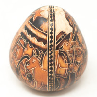 """Hand Carved Gourd Nativity and Musicians 4"""" x 4"""""""
