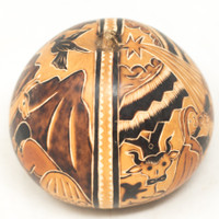 "Hand Carved Gourd Nativity and Washing Hair 4"" x 4"""