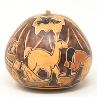 "Hand Carved Gourd Nativity and LLamas, Andes, Washing Hair 4"" x 4"""