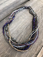 Handmade Beaded Statement Necklace, Gray Silver and Purple Tones, Women's Jewelry, Gift for Her, Multi Strand, Dressy, Casual