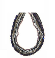 Necklace Silver Purple, and Black, Multi Color Sparkly Beads, Handmade Women's Jewelry, Multi Strand Magnetic Clasps, (Blue)