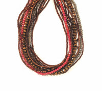 Necklace Red Brown and Copper, Multi Color Sparkly Beads, Handmade Women's Jewelry, Multi-strand, Magnetic Clasps, (Red)