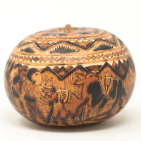 "Peruvian Gourd Carved, Daily Life in the Andes Cochas Chicas, Peru 3"" x 4"""