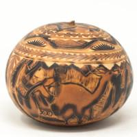 """Peruvian Gourd Carved, Music Life in the Andes Cochas Chicas, Peru 3.5"""" x 4"""""""