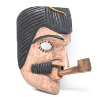 "San Simon Mask with Pipe, Hand Carved in Guatemala, Fair Trade Traditional Folk Art 8"" x 7"" x 5.5"""
