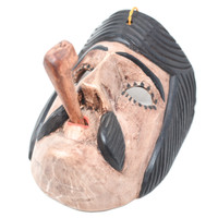 """San Simon Mask with Pipe, Hand Carved in Guatemala, Fair Trade Traditional Folk Art 7.5"""" x 7"""" x 6"""""""
