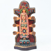 "Our Lady of Guadalupe, Virgin Mary, Artisan Crafted Wooden Saints 3.5"" x 3"" x 7.5"""