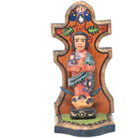 """Our Lady of Guadalupe with Folded Hands and Crescent Moon, Virgin Mary, Artisan Crafted Wooden Saints 3.5"""" x 3"""" x 7.5"""""""