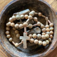 """Hand Burnished Clay Rosary from Oaxaca Mexico 39"""" long with 1/2"""" large Beads"""