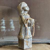 "Hand Burnished clay Rosary Beads from Oaxaca Mexico, Religious Folk Art 22"""