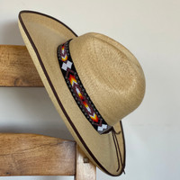 Beaded Hat Band, 1 Inch Wide Hatband, Hat Accessory, Leather Ties, Men, Women, Multi Color, Southwestern, Black, White, Orange, Yellow, and Pink Handmade in Guatemala