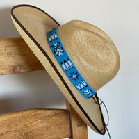 Beaded Hat Band, 1 Inch Wide Hatband, Blue Paisley, Multi Color Hat Accessory, Leather Ties, Men, Women, Southwestern Handmade