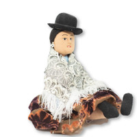 """Bolivian dolls wearing traditional clothing, Wool Shawl and Bowler Hat 8"""" x 8"""" x 6"""""""