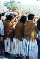 Bolivian Women wearing traditional clothing, Wool Shawl and Bowler Hat
