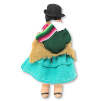 "Soft Sculpture Doll, Aymara Women with Baby on Back, Bolivian Altiplano 7"" x 4"" x 2"""