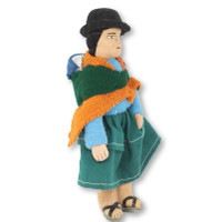 "Handmade Doll, Aymara Women with Baby on Back, Bolivian Altiplano 7"" x 4"" x 2"""