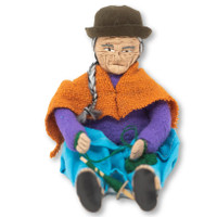 "Grandpa Wearing a Traditional Bowler Hat and Dress chewing Coco Leaves  4.5"" x 4"" x 2.5"""