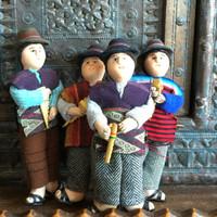 """Bolivian man playing Panpipes , Handknit Purple Wool Sweater,  5"""" x 2"""" x 1.5"""""""