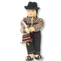 """Bolivian Man with Chuspa Bag , Handknit Purple Wool Sweater,  5"""" x 2"""" x 1.5"""""""