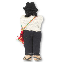 "Bolivian Man with Chuspa Bag , Handknit Purple Wool Sweater,  5"" x 2"" x 1.5"""