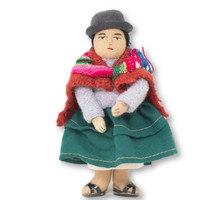 """Bolivian Cholita Doll, Lavender Sweater, with a Aguayo Carrying her Baby 5"""" x 2"""" x 1.5"""""""