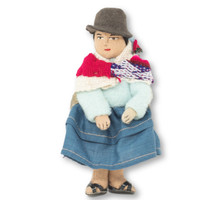 "Bolivian Cholita Doll, Blue Sweater, with a Aguayo Carrying her Baby 5"" x 2"" x 1.5"""
