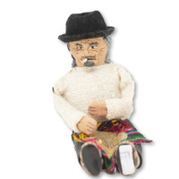 """Grandpa Wearing a Traditional Bowler Hat and Dress chewing Coco Leaves 5.5"""" x 4"""" x 3.5"""""""