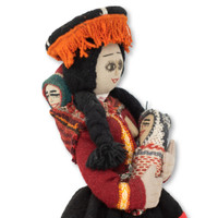 """Cusco Peru Doll Handmade Cotton and Wool Traditional Dress with Baby 17"""" x 7.5"""" x2 """""""