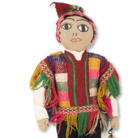 "Cusco Peru Doll Handmade Cotton and Wool Traditional Dress 17"" x 7.5"" x2 ""Cusco Peru Doll Handmade Cotton and Wool Traditional Dress 17"" x 7.5"" x2 """