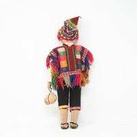 "Cusco Peru Doll Handmade Cotton and Wool Traditional Dress 17"" x 7.5"" x2 """