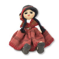 """Peru Doll Handmade Cotton and Wool Traditional Dress with Baby 7"""" x 8"""" x8 """""""