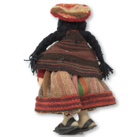 """Cusco Peru Doll Handmade Cotton and Wool Traditional Dress with Baby 9"""" x 6"""" x4 """""""