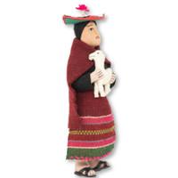"Cusco Peru Doll Handmade Cotton and Wool Traditional Dress with Llama 9"" x 4"" x 3"""