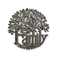 Family Tree of Life with Birds, Plaque Sign, Metal Wall Hanging Artwork from Haiti, Handmade from Recycled Steel Barrels, 17.5 x 17.5 Inches