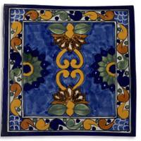 "Talavera Tile, hand painted, La Corona Family, Puebla mexico 6"" x 6"""