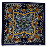 "Talavera Tile, hand painted, La Corona Family, Puebla Mexico 4"" x 4"""