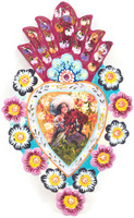 """Charra with Flowers, Peruvian Tin Art, One-of-a-Kind Hand Painted Art, 8"""" x 5"""" Folk"""