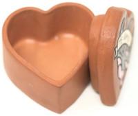 """Te Amo"", I Love You, Hand painted clay box Peru  2"" x 2"" x 1.5"" Folk 45"