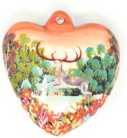 "Frida Kahlo Ceramic Heart Ornament 2"" x 2""  Folk 46"